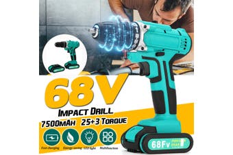 【US Plug】68V Electric Cordless Impact Drill 2-Speed Power Battery Driver Kit Repair Tool【Dual speed+Impact function】(US Two speed Impact function Two Battery)