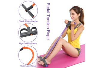 5Pcs Yoga Mat Set Pedal Tension Rope Pilates Ball Exercise Fitness Gym Workout(pink)