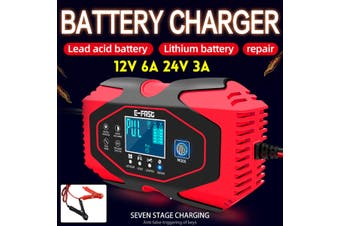 Smart Car Battery Charger 12/24V Automatic Pulse Repair LCD Lead Acid/Lithium(red,EU PLUG 7 Stage Charge)