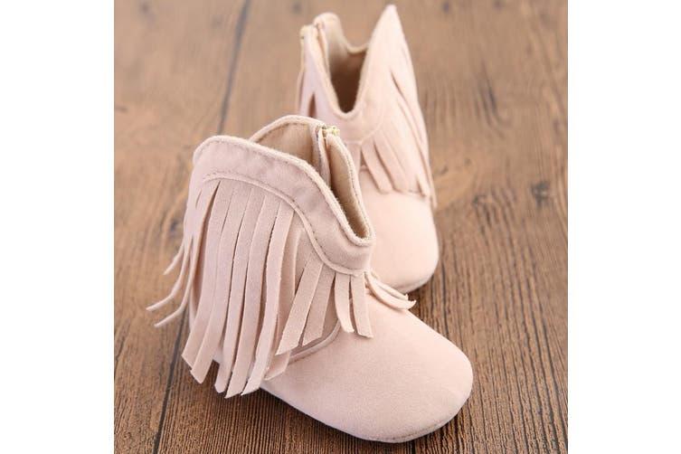 Autumn Winter Baby Boy Girl Ankle Boots Fahsion Tassel Infant Toddler Shoes 0-18 Months Newborn Kids Unisex Soft Sole Crib Shoe(beige,11)