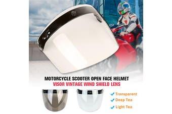 【2020 NEW】 (3-Snap-Universal-Random Color) 18cm Anti-fog Sun-Block Bubble Shield Open Face Mask Visor Lens Jet Helmet Sunglasses For Motorcycle Electrombile Scooter Motor Helmet (transparent)