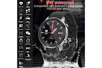 DT78 Men Women Smart Watch Bluetooth Full Screen Touch Waterproof IP67 Heart Rate Pressure Blood Oxygen Monitor Fitness Tracker Wristband Wristwatch Sport for Android IOS(black,Black Silicon Strap)