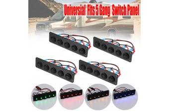 Universal 5 Gang LED Rocker Switch Control Panel 12V 24V Caravan Camper Car Boat Red(red,Type A)