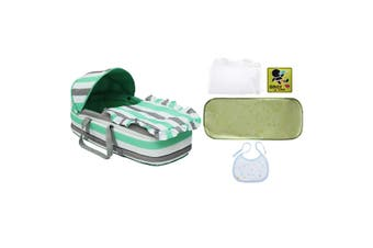 Baby Moses Basket Safe Newborn Travel Bed Bassinet Carrier Cradle With Hood Cute(green)