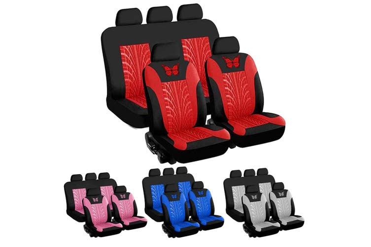 9PCS Universal 3D Butterfly Pattern Car Full Set Seat Cover Protector Cushion #(grey,9pcs seat covers)
