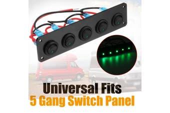 Universal 5 Gang LED Rocker Switch Control Panel 12V 24V Caravan Camper Car Boat Green(green,Type A)