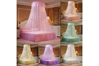 Elegant Lace Bed Canopy Ceiling-Mounted Mosquito Net Dome Hanging Lace Insect Net Encryption Heightening Ceiling Princess Dome Court Suitable for: 1.2-1.8m bed(pink,TypeA)