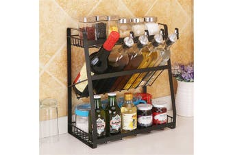 Kitchen Spice rack SUS304 Stainless steel Standing Rack Kitchen Countertop 3 Layers Storage Organizer Spice Jars Bottle Shelf Holder Rack(black,Square Bottom)