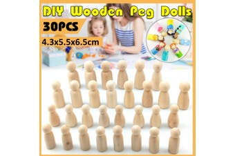 30Pcs Set DIY Wooden People Peg Dolls Manual Painting Crafts Graffiti Unfinished Solid Wood Supplies Kids Toy Gift