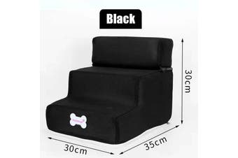 Easy 3 Steps Dog Stairs For High Bed Pet Cat Ramp Ladder With Removable Top 09(black)