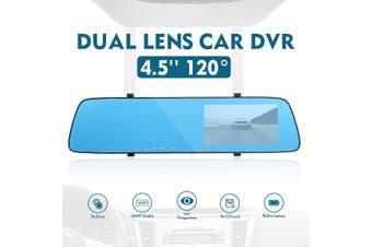 4.5'' 120° Dual Lens Car DVR Dash Cam Front & Rear Mirror Camera Video Recorder(4.5 inch Front Rear Camera 1080P)