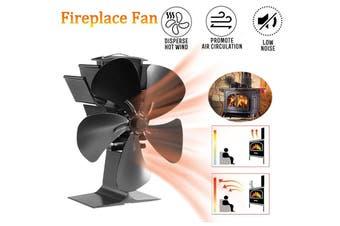 5 Blade Heat Self-Powered Wood Stove Fan Heat Powered Fire Place Fireplace Fan Burner Top Burner Fireplace Silent Ecofan 25dB(black,Normal type)