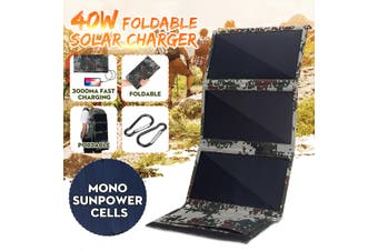 Sunpow 40W 5V Foldable Solar Panel Charger w Dual USB?Waterproof?for Backpack Camping Hiking Climbing