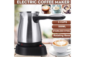 500ml Greek Turkish Electric Coffee Maker Boiled Milk Espresso Briki Pot 220V (silver,Stainless steel)