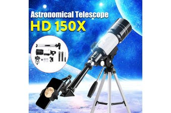 Portable 150X Zoom Aperture (300mm/70mm) Monocular Astronomical Observation Refractor With 360 Degree Adjustable Aluminum Tripod Kids Toys Christmas Gift Travel(Without Star Finder)