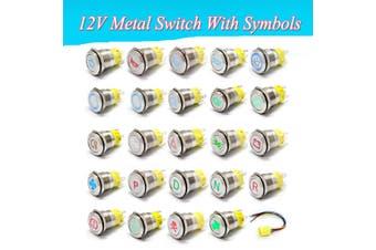19mm 12V LED Light Push Button Metal Switch Latching Symbol Car Racing Marine - Highbeam
