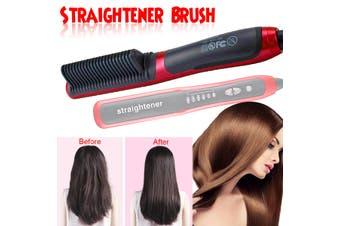 Quick Heated Beard Straightener Brush Multifunctional Hair Comb Curling Show Cap(EU Plug)