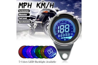 【Free Shipping + Flash Deal】DC 12V Motorcycle LCD Digital Speedometer Odometer RPM Tachometer Gauge KM/H MPH (Black)(black)