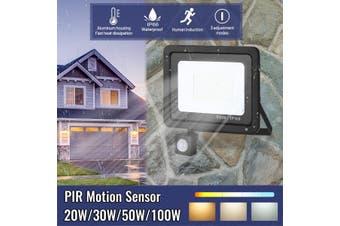 Floodlight PIR Motion Sensor 20W 30W 50W 100W Outdoor Security LED Flood Lights(220V 110W 128led)