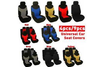 4PCS / 9PCS -- Car Seat Covers Full Seat Cover Universal Cushion Case Cover Front and Rear -- Black / Gray / Red / Blue / Yellow(red,9 Pcs(Front Back Row))