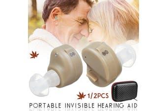 1 Pair Digital Hearing Aid Enhancer Mini In-Ear Assist Sound Voice Amplifier (Double ear)