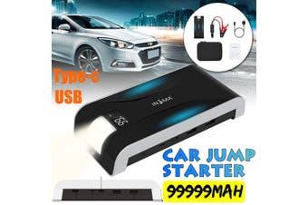 INSMA 99999mAh Car Jump Starter Dual USB Emergency Power Bank Flashlight Mobile Charger(99999mAh)