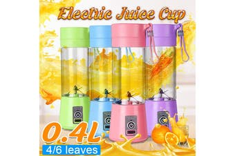 Mini 400mL 4 Blades Electric Juice Fruit Juicer Maker Blender & Protein Shaker 150W USB Rechargeable Portable Smoothie Cup Healthy Drinking Vegetable Kitchen Tool(green,4Blades 380ML)