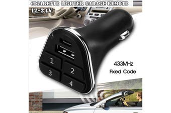12-24V 433.93Mhz USB Car Cigarette Lighter Garage Door Remote control 4 channels Car Accessories