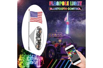 【2020 NEW】(3ft/4ft-RGB-APP Control) 30-55W 240/300led Muti-color Spiral IP67 Car LED Wh0p Light Flagpole Light With America flag DC12V For Motorcycle Off-road-6000 Colors+200 patterns(3 ft)