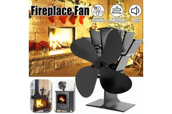 【Free Shipping + Flash Deal 】Fireplace Fan 4 Blades 5 Colors Thermal Power Fan Anodizing Aluminum Household(black)
