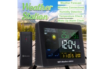 Wireless LCD Wifi Weather Station C/°F Digital Alarm Clock Humidity Thermometer Black(without Sensor)