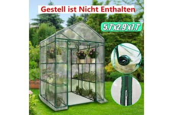 195X143X73cm Garden Greenhouse Green Plant House Shed Storage PE Cover Roof No Shelves (Without Shelf 195x143x73cm)