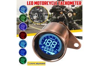 7 Adjustable Universal LCD Motorcycle Odometer Speedometer Tachometer Gauge For Yamaha For Honda CG 125 For Suzuki For Kawasaki (copperred)