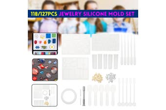 118/127Pcs Handmade Crystal Glue Mould Mold Resin Jewelry Silicone Mold Kit
