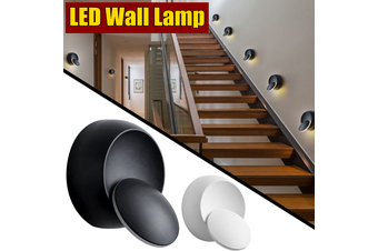 【Free Shipping】360 Degree Rotation Adjustable Bedside Creative Round LED Wall Lamp Light? (black)