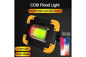 Portable Flood Light COB Inspection Light LED Work Light Rechargeable Work Light for Car Repairing, Workshop, Garage, Camping, Emergency Lighting Two-Sided COB Lamp