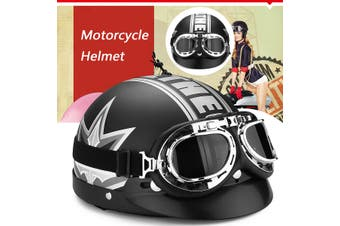 【Free Shipping + Flash Deal】Motorcycle Bike Half Open Face Protector Helmet Biker Scooter w/Goggles Vintage(Type 1)