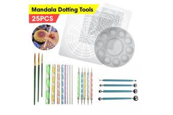 25Pcs Mandala Dotting Tool Rock Painting Kit Dot Art Rock Pen Paint Stencil Mold(25PCS)