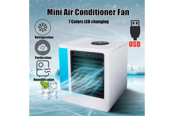 Portable Mini Air Cooling Conditioner USB Air Cooler Water Tank Fan Humidifier Temperature Display【5 Settings】(5-level)