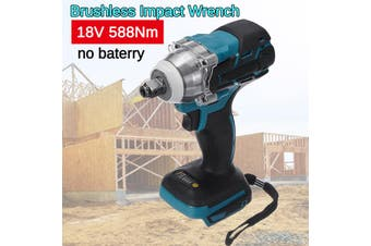 18V 588N.M Electric Cordless Impact Wrench Torque Drill Tool Screwdrive Electric Wrench Rechargeable Lithium Battery Wrench Brushless Lithium Electric Impact Wrench【Bare Metal Only】