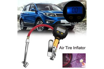 Car Air Tire Tyre Inflator High Accurate LCD Digital Pressure Gauge w/Dual Chuck