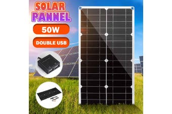 50W 18V Monocrystalline Solar Panel Waterproof IP65 Dual USB ,30cm DC Male Cable, Clip ,Car Charger For Phone RV Boat Camping Traveling(without Controller)
