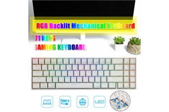 Royal Kludge RK71 71 Keys Dual Mode bluetooth 3.0 + USB Wired RGB Backlit Mechanical Gaming Keyboard(white,Blue Switch)
