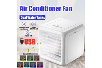 Air Conditioner Fan Mini Cool Humidifier Purifier Portable Cooler Cube Water USB(Double Tank Fan)