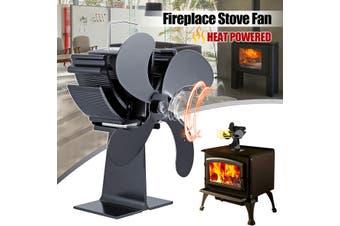4 Blade Heat Self-Powered Wood Stove Fan Top Log Burner Fireplace Silent Eco Fan(Type A)