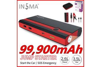 99900mAh Portable 12V Car Jump Starter Power Bank Booster USB Charger Battery Battery Clip Kit(black,99900mAh set)