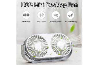 USB Mini Table Desktop Fan Double Head Air Cooling Home Office Portable Desk Fan(white,white)