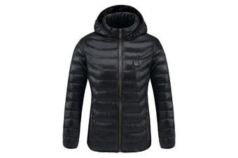 Digital Heating Hooded Work Jacket Motorcycle Riding Skiing Snow Coats Women Winter Warm Jacket (Three Intelligent Temperature Adjustment)(black,xxxxxs)