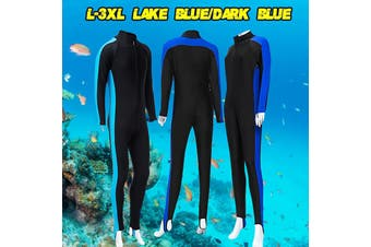 Men Women's Full Body Stretch Wetsuit Swimming Diving Snorkeling Surfing Suit - darkblue