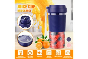 【Free Shipping】 Electric Portable Juice Blender Mini Handy USB Rechargeable Fruit Mixer Cup Juicer Cup 400ML Mini Personal Blender Kitchen Fruit Squeezer Cup (blue)